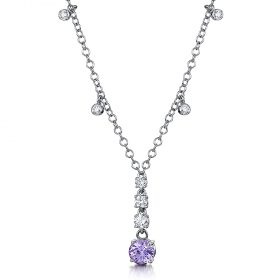 18ct white Gold , Lilac Sapphire and Diamonds