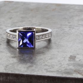 Palladium, Tanzanite and Diamond Ring