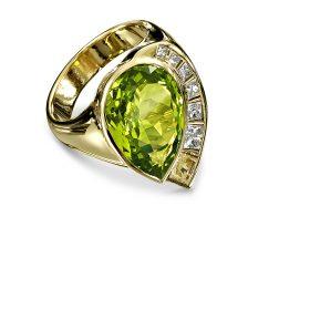 Bespoke Peridot and Diamond Ring