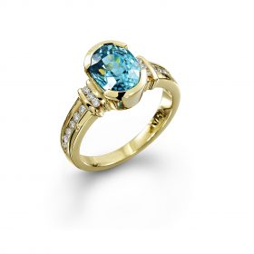 Bespoke Blue zircon and Diamond ring
