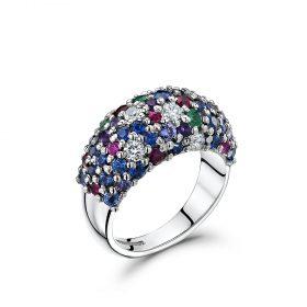 Bespoke Sapphire, Emerald, Diamond and Ruby ring