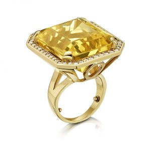 Bespoke citrine and diamond ring