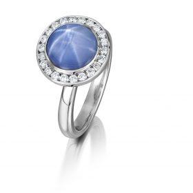 Bespoke star sapphire and diamond ring