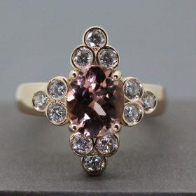 Morganite, Diamonds set in Rose Gold