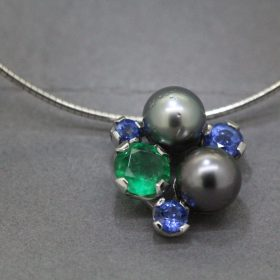 Tahitian Pearl ,Sapphire and Emerald