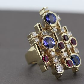 Sapphire Tanzanite Ruby and Diamond Ring