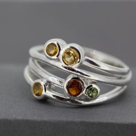 Silver Citrine and Peridot ring