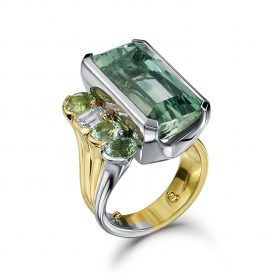 Bespoke Aquamarine and Diamond Ring