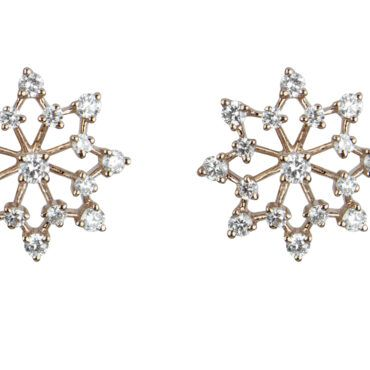 18ct rose Gold Snowflake studs