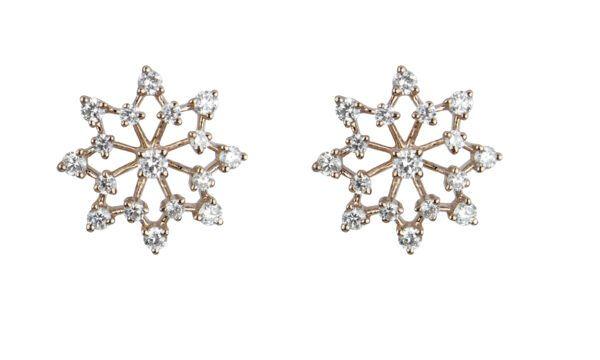 18ct rose Gold Snowflake studs